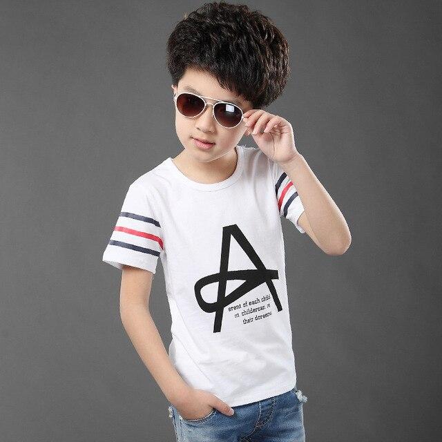 Summer Style Kids Brand T Shirt Boys T-shirt Baby boys Short sleeve  Cotton Tops Children Letter Tees For 5-9Yrs