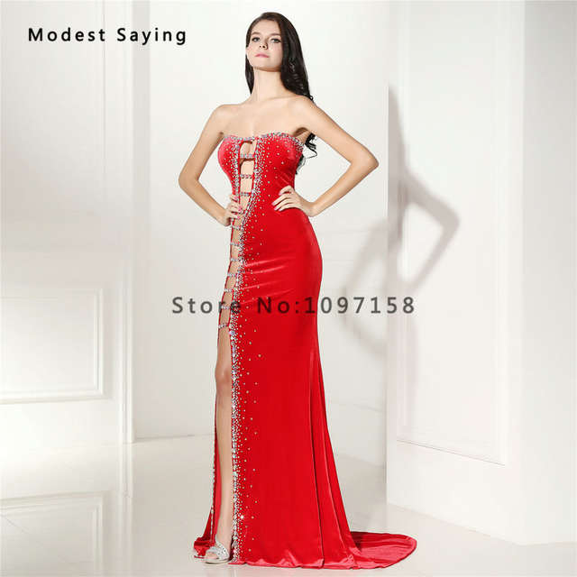 2018 New Sexy Cut-Out Velvet Evening Dress with Rhinestone Luxury Long Red  Evening Gowns 4e3149a58