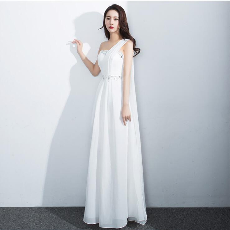 bridesmaid     dresses   Elegant Beading Zipper one shoulder long wedding party   dress   Plus sizes Chiffon Robe Soiree