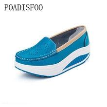 Pompe Scarpe Donna Estate vera ritaglio di pelle traspirante scarpe  battente scarpe infermiera bianco cunei aumentano b9425766b6b