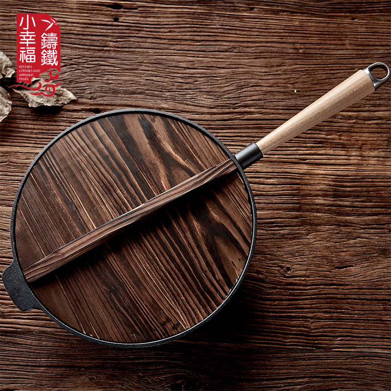 31cm manual thicken cast iron pot multifunctional frying steak pan flapjack nonstick Chinese wok fryer cooker with glass cover