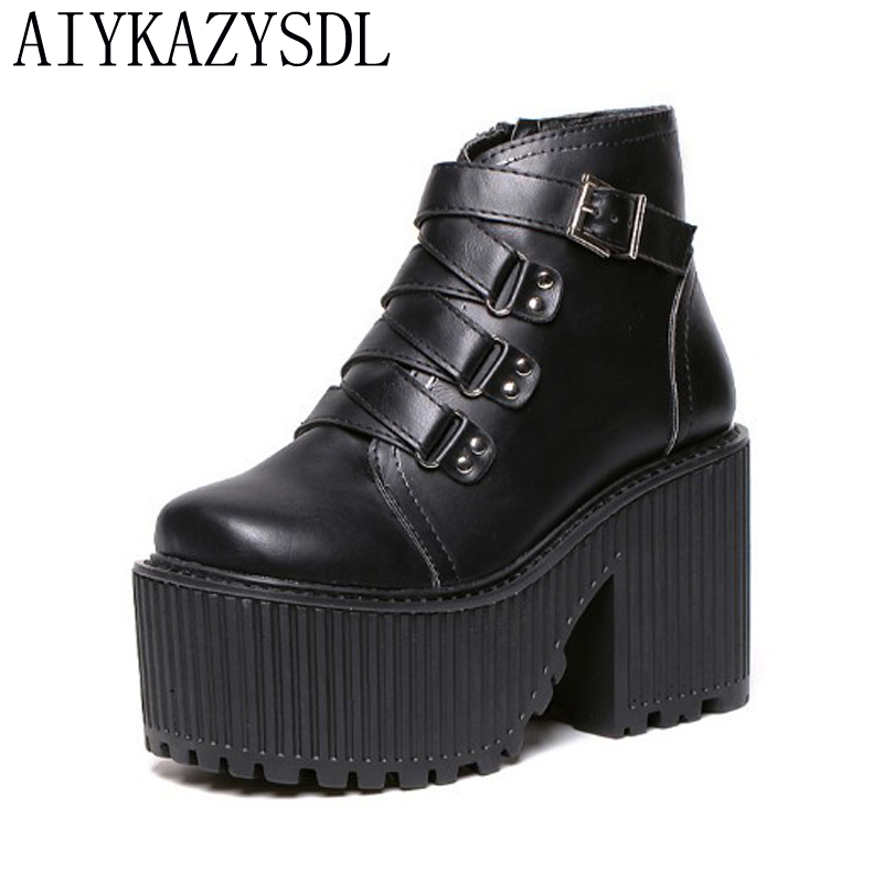 AIYKAZYSDL Fall Ankle Boots Women Gladiator Strappy Platform Wedge Thick Sole High Heel Creepers Heavy Rock Motorcycle Shoes nayiduyun women genuine leather wedge high heel pumps platform creepers round toe slip on casual shoes boots wedge sneakers