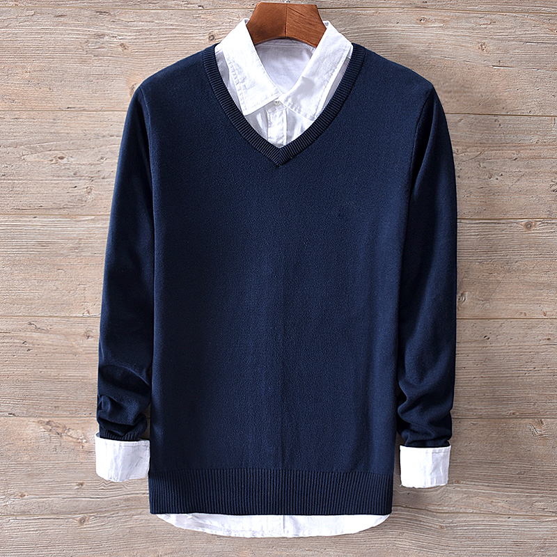 New Italy Style Brand Cotton Sweaters Male Fashion Navy Blue Solid Sweater Men Autumn And Winter V-neck Knitted Tops Sweter Trui