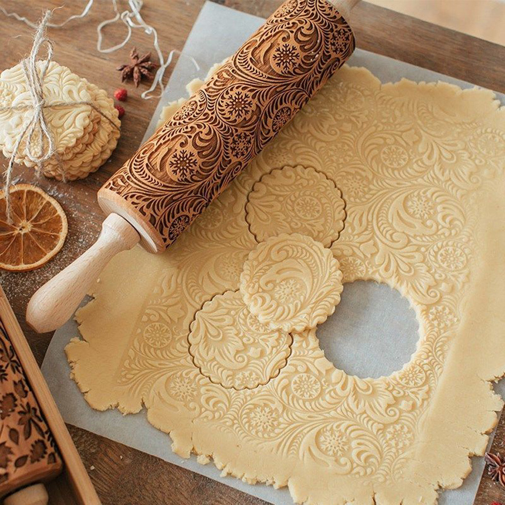 Christmas Embossed Rolling Pin Engraved Carved Wood Baking Cookies Fondant Cake Dough Roller Reindeer Snowflake Navidad #LL