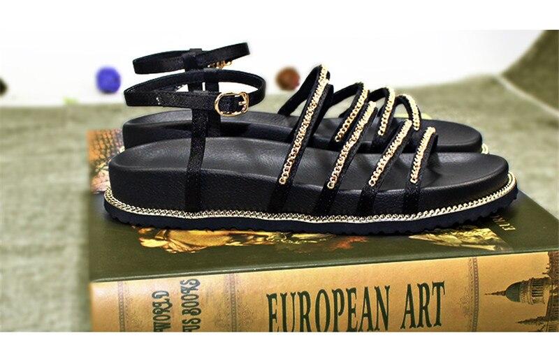 Show Chaînes Chic Chaussures Cristal Sandales La Sandalias Cheville À Femmes forme Plate Style Appartements En 2019 Rue Sapato Rome Bride As Mujer Feminino A4wqBzn
