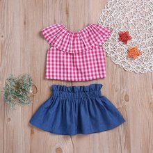 Children Girls Casual Summer Plaid Print Flare Sleeve T-shirt+Denim Skirts Suits 2Pcs Costume Set
