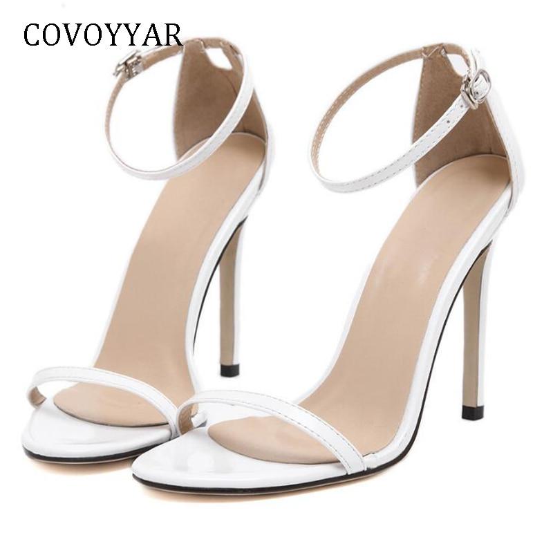 White Ankle Strap Open Toe Heels