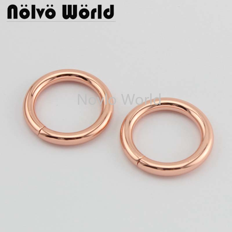 Wholesale 500pcs, Inner Width 25mm 1 Inch Rose Gold High Quality Metal O Ring Iron Wire Circle Key Ring Diy Hardware Accessories