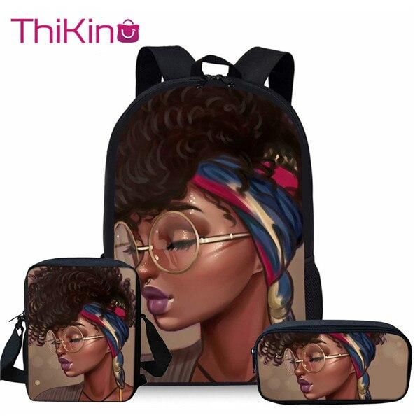 Thikin Children 3pcs/set School Bags for Kids Black Art African Girl Printing Bag Teenagers Shoulder Bagpack Satchel