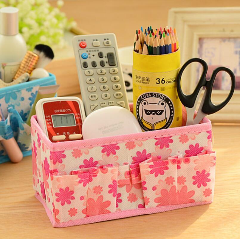 Desk Office Makeup Storage Box Desktop Household Folding Cosmetic Organizer