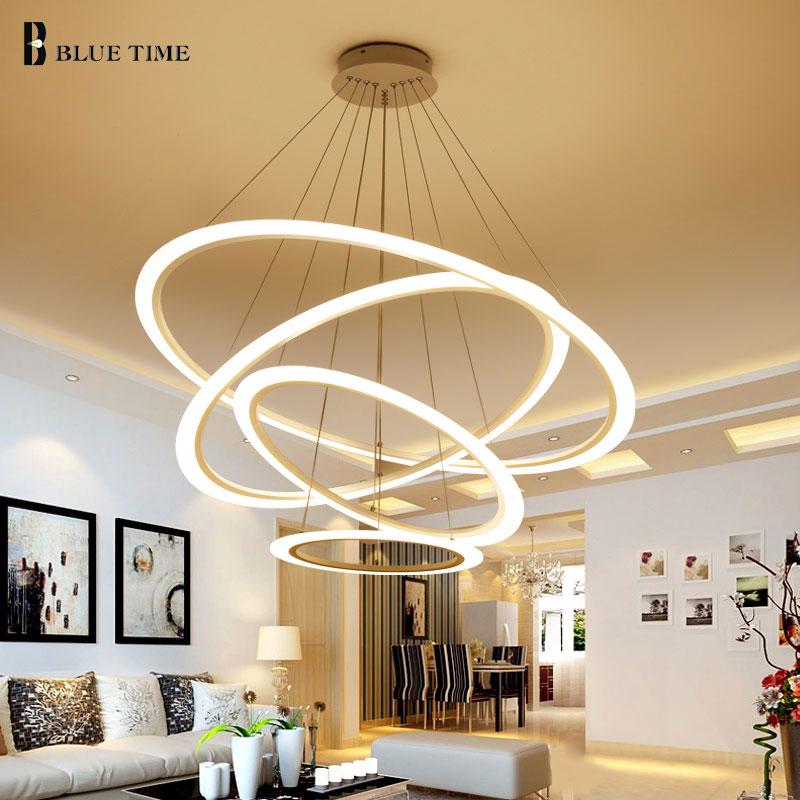 New LED Pendant Lights Modern For Dining room Living room 4 3 2Circle Rings Acrylic LED