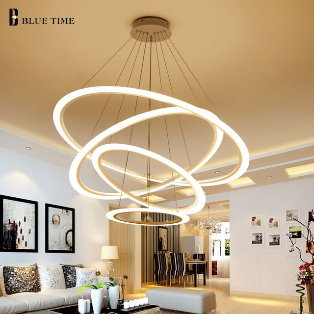 Neue LED Pendelleuchten Moderne Für Esszimmer Wohnzimmer 4/3/2 Kreis Ringe  Acryl Led