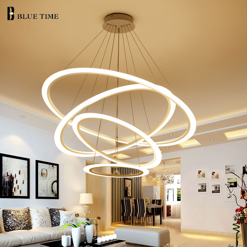 New LED Pendant Lights Modern For Dining room Living room 4/3/2Circle Rings Acrylic LED Lighting ceiling Lamp Lighting fixtures