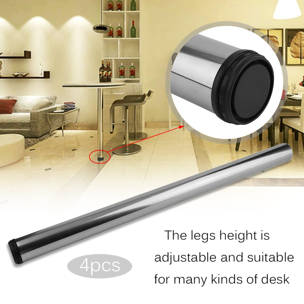 4 Pcs Chrome Adjustable Safety Breakfast Bar Table Legs Desk Kitchen Home Worktop Support Protecting 870mm Furniture Guard brushed steel 710 1100mm adjustable table leg breakfast bar stands kitchen worktop support new furniture legs
