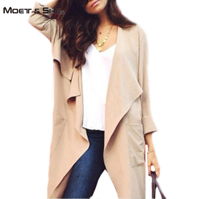Moet &She  Autumn Solid Long Open Stitch Trench Coat for Women Fashion Linen Gabardina Mujer Khaki Skyblue Outerwear C66289R