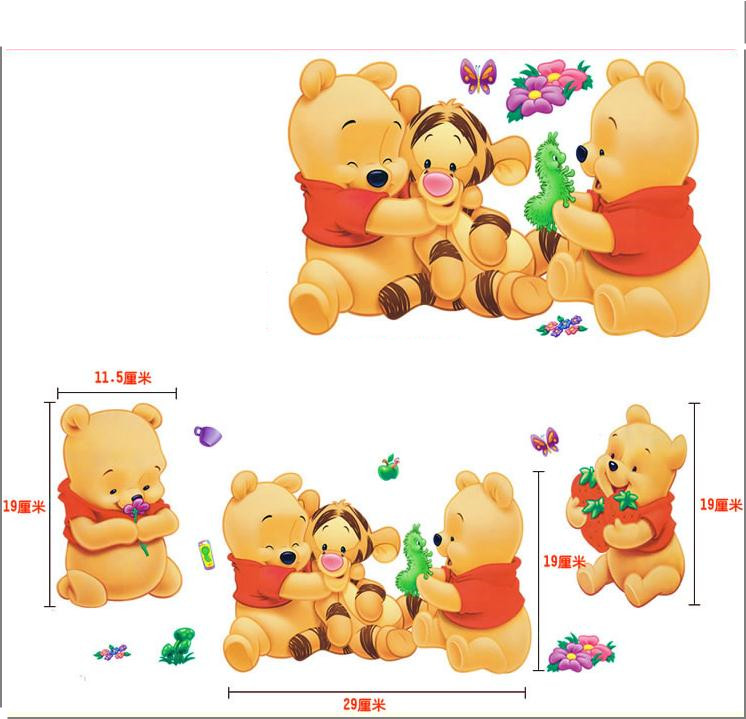 Cartoon Animals Winnie Pooh Wall Sticker For Kids Children Room Home Decor Bear Nursery Wall Decals Home Decoration Baby Poster
