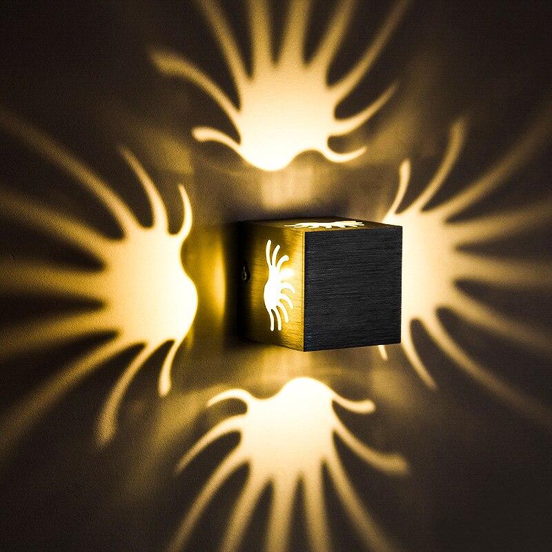Led-beleuchtung Dimmbare/n 3 Watt Palm Led Wandleuchte Leuchte Modernes Dekor Lampe Aluminium Disco Schlafzimmer Silber Shell Verschiedene Stile