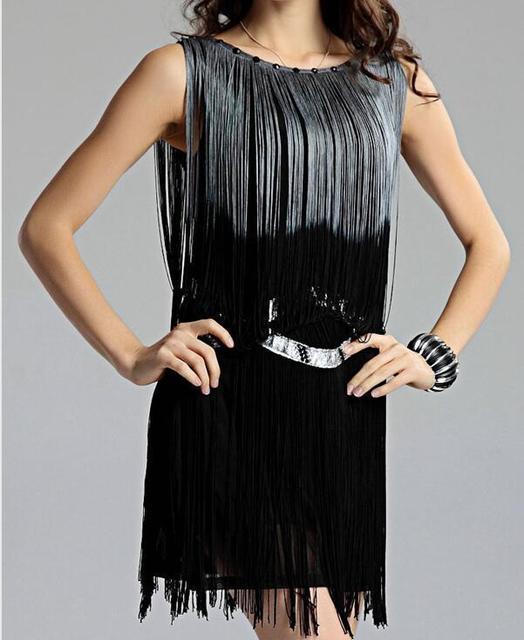 c48e19ec1a Sukienki Klapy Sukienka Frędzle pomponem Wielki Gatsby 1920 s Bez Rękawów  Płaszcza Casual Dress Z Frezowanie