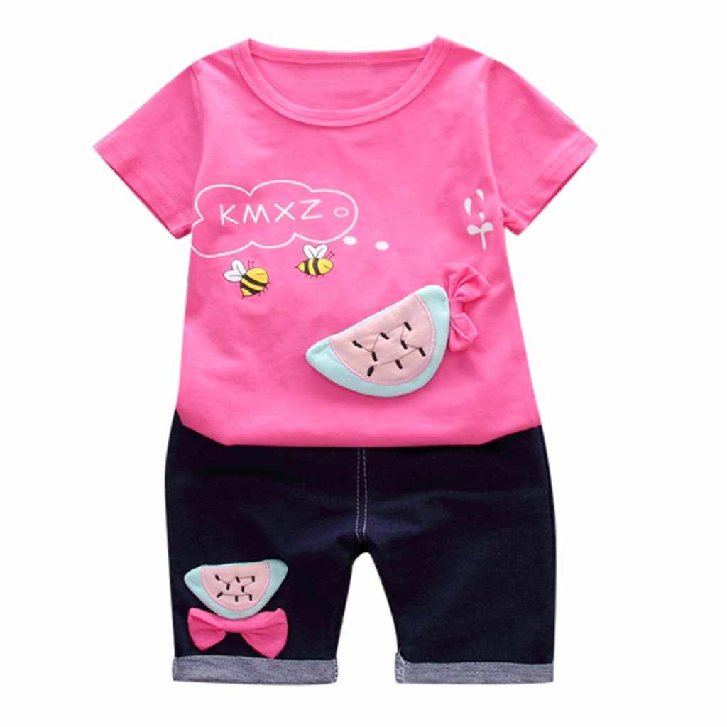 Toddler Summer Baby Cotton Casual Kids Girls Bee Fruit watermelon T-shirt Tops Shorts Baby Girls Summer Outfits set clothes Set