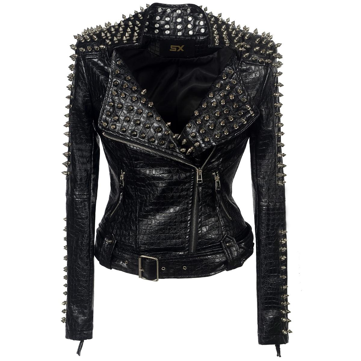 Faux leather PU Jacket Punk Rivet Women  fashion Winter AutumnMotorcycle Jacket Black faux leather  Coat Outerwear Punk