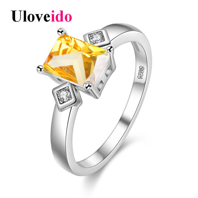 Uloveido Wedding Rings for Women Yellow Zirconia Rectangle Ring with
