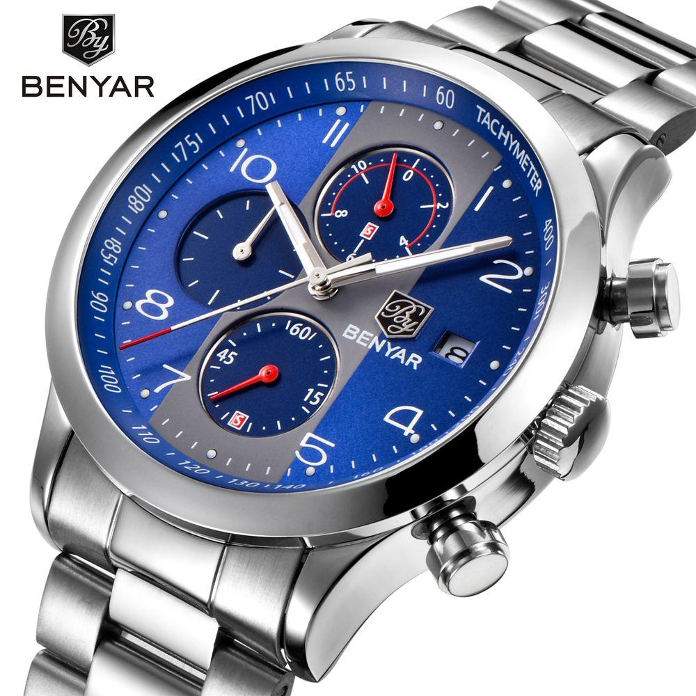 BENYAR Steel Men Sport Watches Quartz Chronograph Business Waterproof Watch Male Wrist Watch Clock Men Relogio Masculino