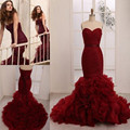 2016 Off Shoulder Sweetheart Bow Knot Belt Lace Up Back Tiered Bottom Tulle Elegance Full Mermaid Luxury Red Prom Dresses