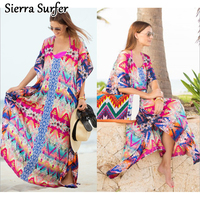 Beachwear For Women Shirt Cover Up Beach Summer Long Dress Tunic Sarong Chiffon Flower Beach Dress