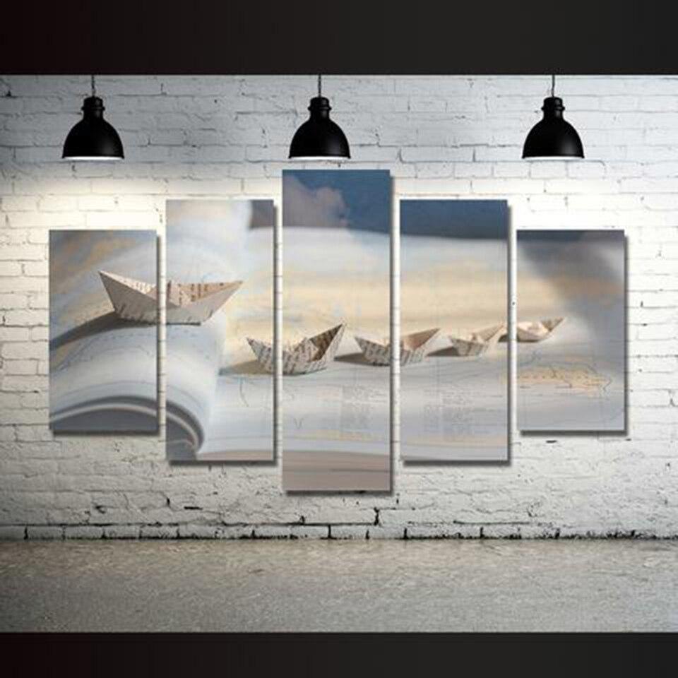 С HD модульная холст фотографии Плакаты 5 шт. карта мира Бумага корабль Картины Декор современный дом Гостиная стены Книги по искусству