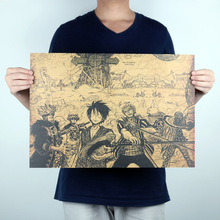 Vintage Classic Anime One Piece Luffy Hand-drawing Poster Retro Kraft Paper Bar Cafe Home Decor Painting Wall Sticker 51x35cm