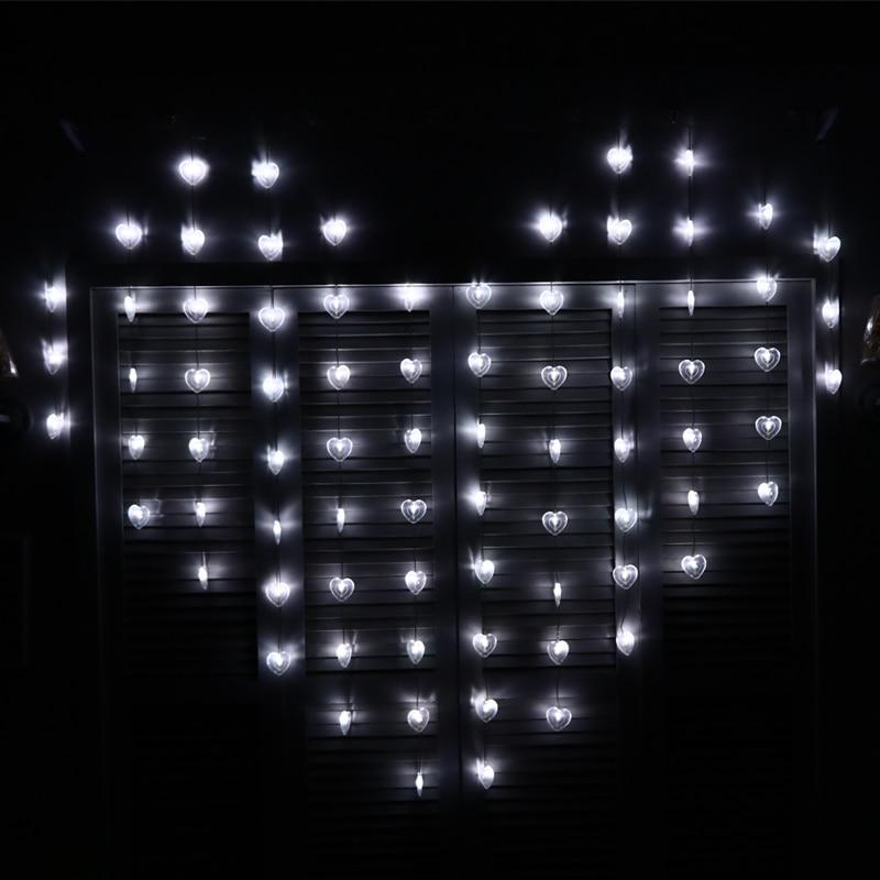 JULELYS 2  15 78 Ampoules Coeur LED Mariage Rideau Lumires Gerlyanda Guirlande de Nol Feston