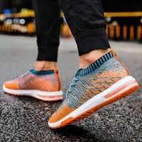 2019 hombres zapatos Beathable de malla de aire casuales de los hombres zapatos de verano calcetines Zapatos de los hombres zapatillas de deporte Tenis Masculino Adulto Plus tamaño tamaño 46
