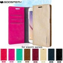 Original Mercury Goospery Blue Moon Flip Wallet Gel Cell Phone Cover Case for Xiaomi Redmi 3  Mi6 Redmi Note 2 3 4