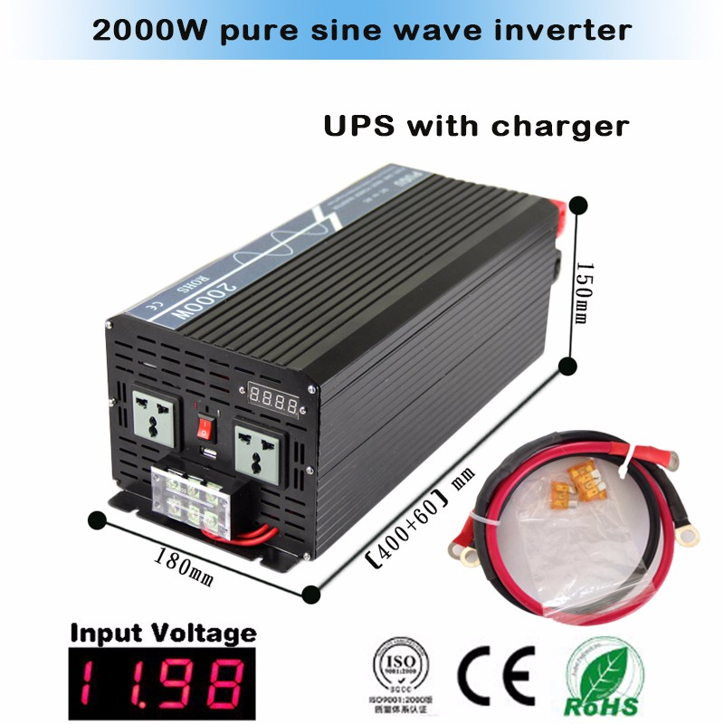 Factory price 2000w pure sine wave automatic inverter charger 12VDC to 220VAC with high frequency