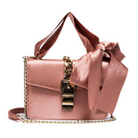 2017 Famous Designer High Quality Silk Stripes Ribbon Bow Crossbody Bag Luxury Brand Shoulder Metal Chain