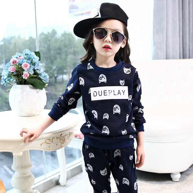 9813a5f309b4 New Baby Girls Suit 2017 Spring Autumn Cartoon Sports Shirt+Pant Two ...
