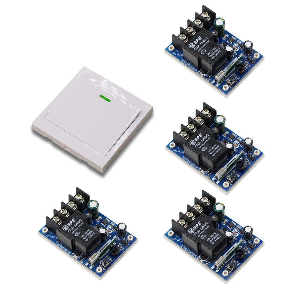 Wide Voltage DC12V 24V 36V 48V 30A 4PCS Receiver Board + Wall Panel Transmitter 1CH RF Wireless Remote Control Switch System dc12v 24v 36v 48v 30a 1ch wireless remote control switch 3 transmitter with 2keys