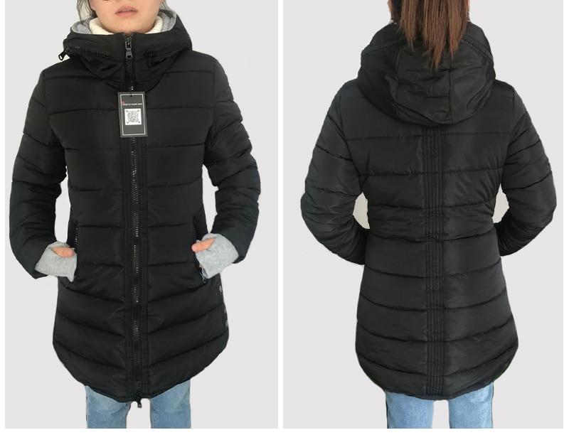 HTB1r37yoFkoBKNjSZFkq6z4tFXam 2019 women winter hooded warm coat slim plus size candy color cotton padded basic jacket female medium-long jaqueta feminina