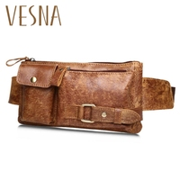 Leather Korean Men's Chest Bag Business Collection Wallet Outdoor Sports Pockets Leather Casual Retro Men's Bag