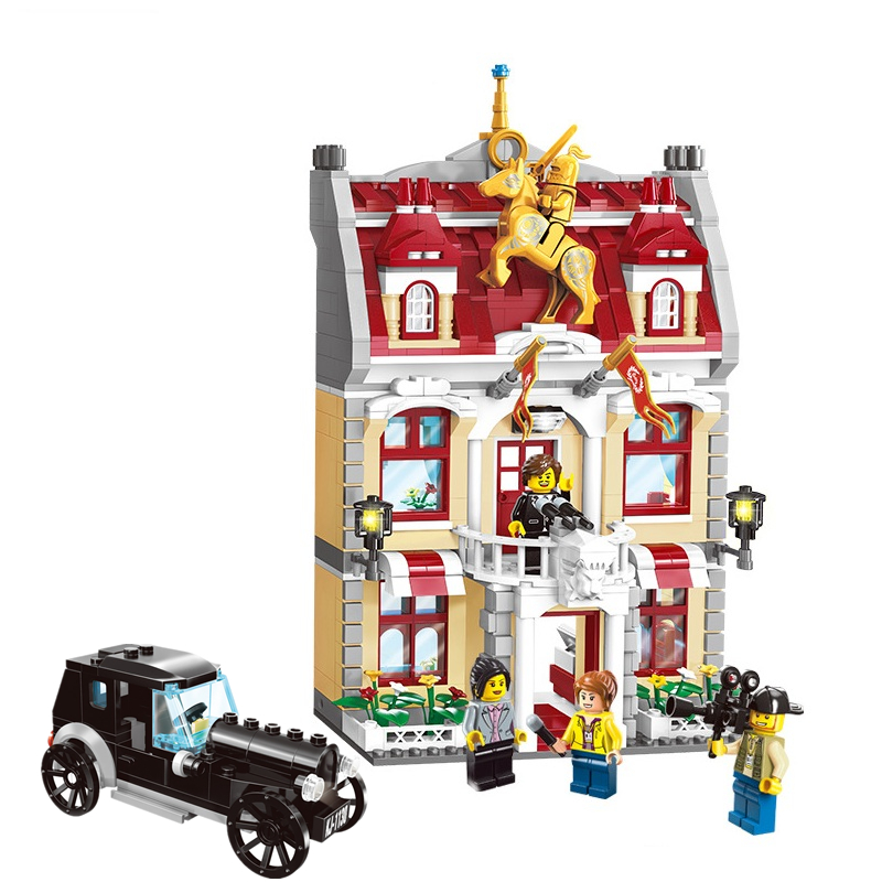ENLIGHTEN City Town Hall Building Blocks Sets Bricks Model Kids Toys Children DIY Compatible Legoings Architecture Friends lepin city town city square building blocks sets bricks kids model kids toys for children marvel compatible legoe