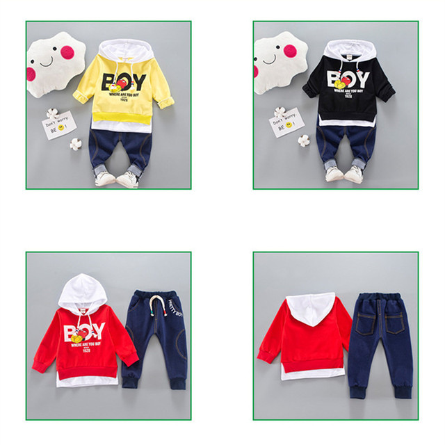 2-Pieces Letter Print BOY Long Sleeve Sweatshirt and Pants Set for Baby and Toddler