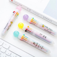 New Products Hot Colorful Cute Macaron Candy Balls Ten Color Ballpoint Pen Catalog Creative Korea Stationery Random