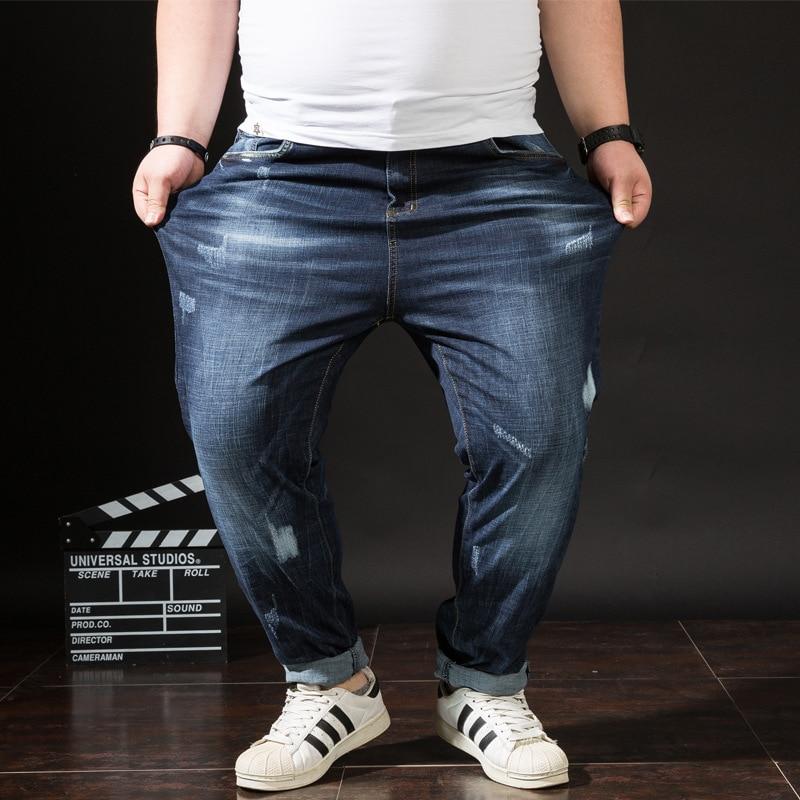 SHABIQI 2019 Autumn New men   Jeans   Blue Classic Fashion Designer Stretch   Jeans   men's casual High Quality Slus Size Trousers 32-48