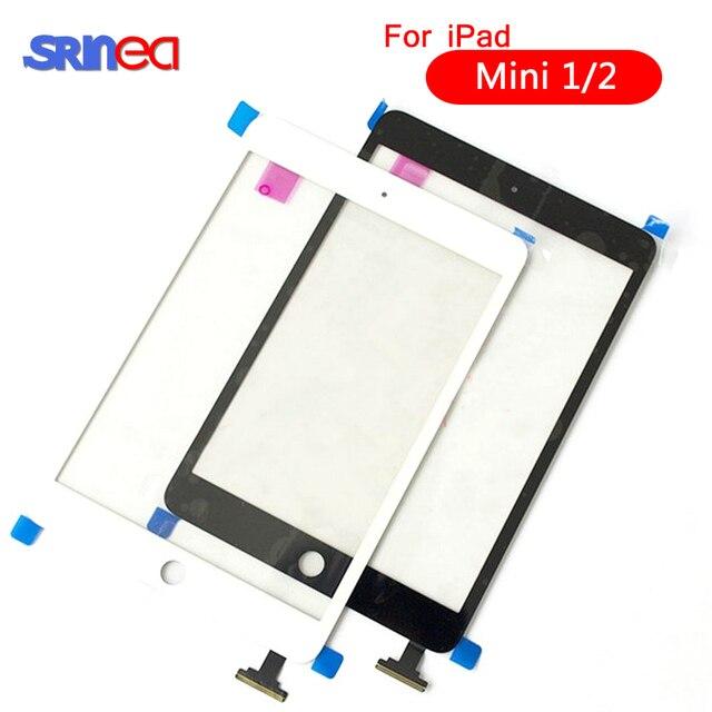 AAAAA para iPad Mini 1 2 A1432 A1454 A1455 A1489 A1490 A149 digitalizador de pantalla táctil Sensor + IC Chip conector flexible + botón de llave