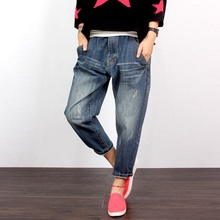 2017 Fashion Women Ripped Loose Harem Capris Jeans Plus Size Deep Blue Cotton Denim Ninth Jeans M/L