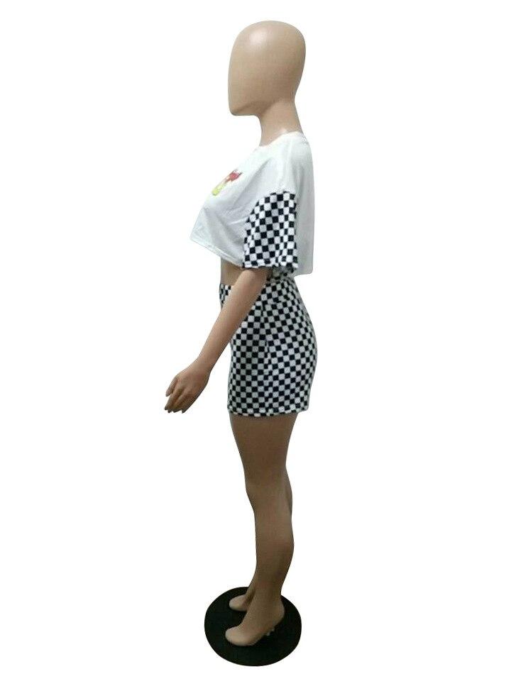 HTB1r38GRVXXXXcdXVXXq6xXFXXXr - Two piece set Women 2017 Sexy Summer patchwork white O-Neck letter crop top and shorts set female casual runway Checkered pants PTC 212