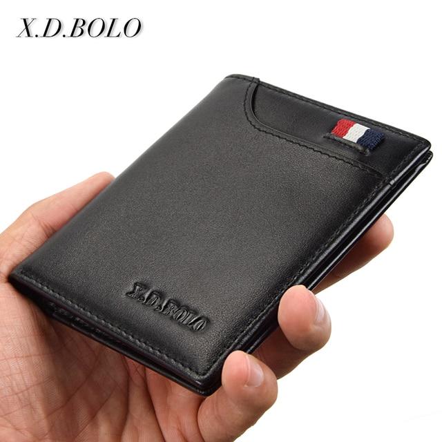 XDBOLO de moda de cuero genuino de los hombres pequeñas carteras delgadas Mini hombres tarjeteros monedero delgado de cuero de los hombres para dinero y tarjetas