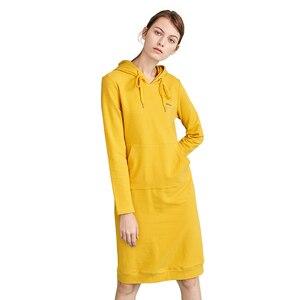 Image 2 - Toyouth חדש סתיו ארוך סוודר שמלות לנשים ארוך שרוול Pokects מקסי גבירותיי שמלת כותנה H קו מוצק Vestidos mujer