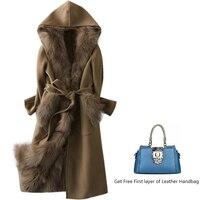 Зимние женские пальто с длинным пальто с двумя кашемировыми пальто и съемным лисьим меховым лайном натуральной шубы