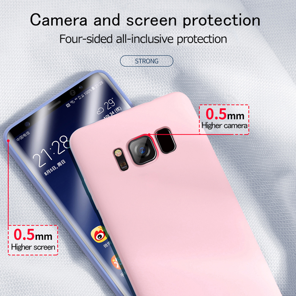 Silicone Liquid Phone Case For Samsung Galaxy S10 Lite 5G S9 S8 Plus S7 Edge Note 9 8 For A6 Plus A7 2018 A10 A20 A30 Cover Case in Fitted Cases from Cellphones Telecommunications